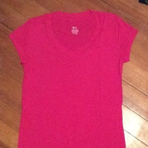 Hot pink V-neck tee